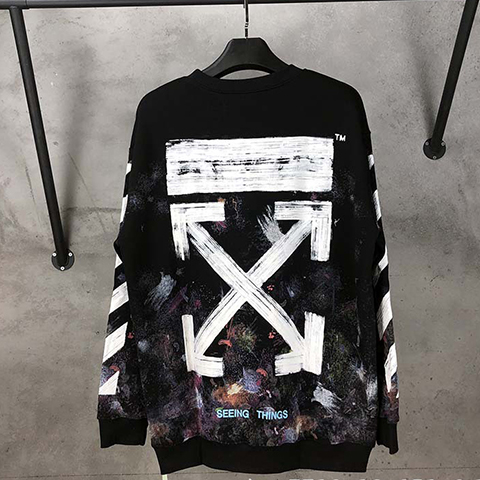 Off White 17FW Galaxy Fireworks sweatshirt CD Sale