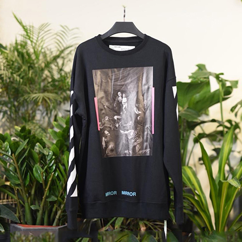 Off White 17SS Black Caravaggio Diagonal Mirror Sweatshirt Online Sale