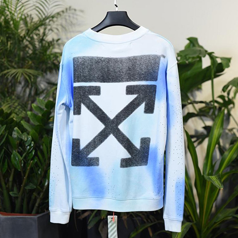 Off White 18FW Diamond-encrusted Black Arrows Long Sleeves Sweatshirt Online Sale