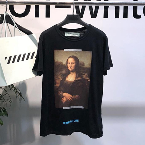 Off-White 18SS Black Mona Lisa White Arrows Temperature Print T-shirt Online Sale