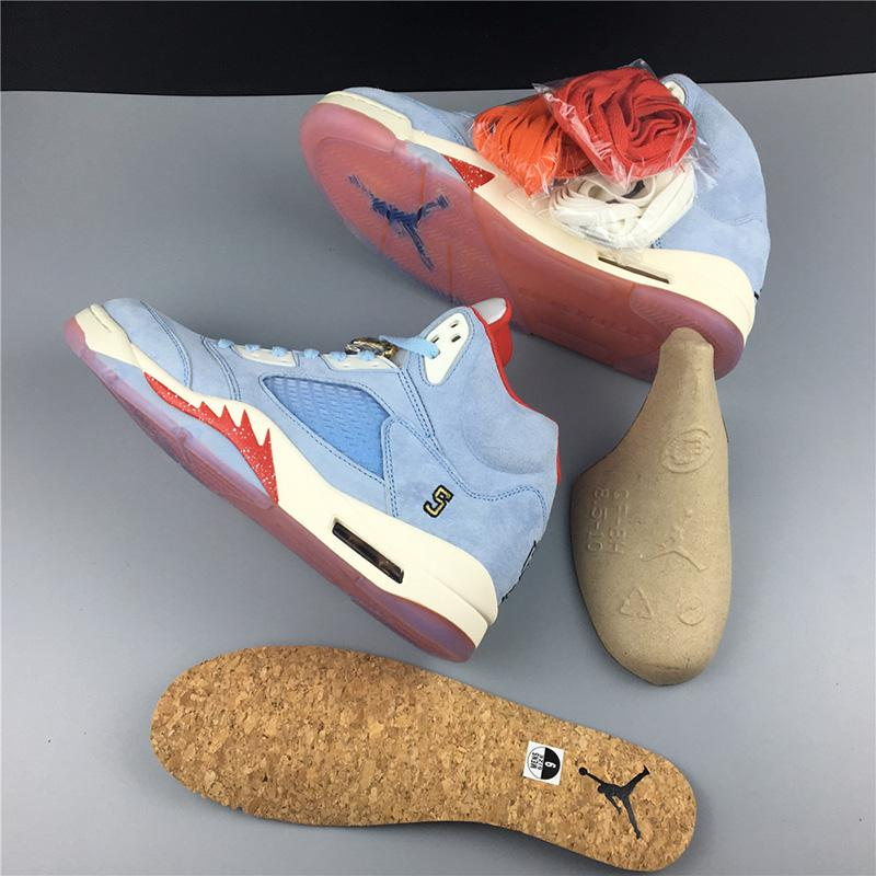 Trophy Room x Air Jordan 5 Ice Blue High Quality Version