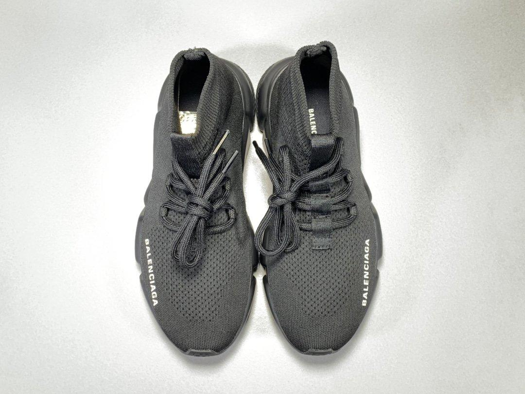 Balenciaga Speed Run stretch-knit Mid sneakers Black Released
