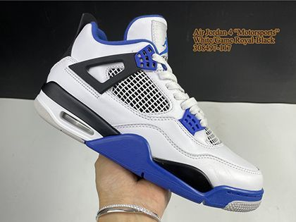 Air Jordan 4 Retro Motorsports 308497-117 White Game Royal Released